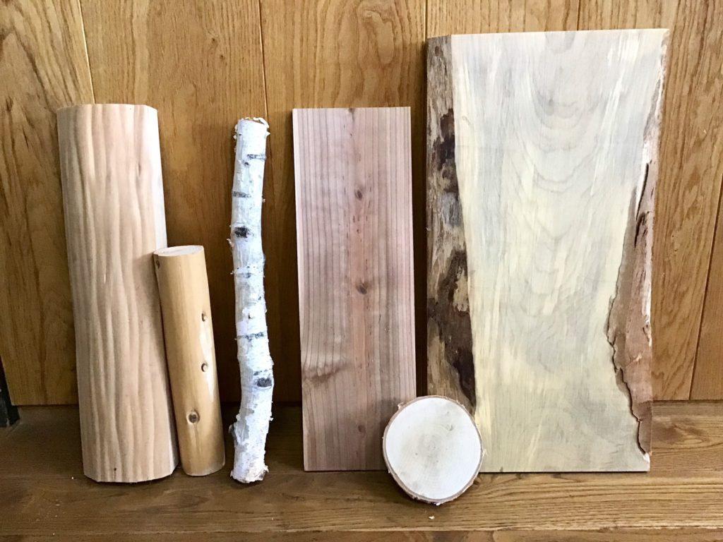 DIY素材 板 丸太 白樺丸太
